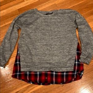 Doe & Rae Sweatshirt Flannel Top